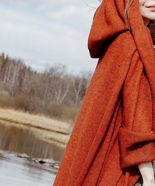 cashmere orange sweater with hood