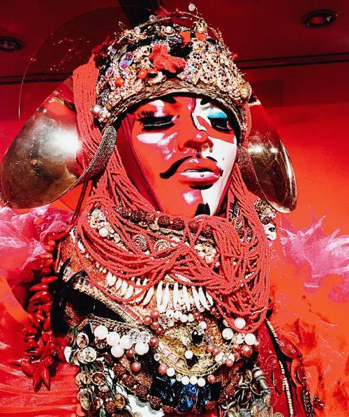 lismore red fashion sculpture mask