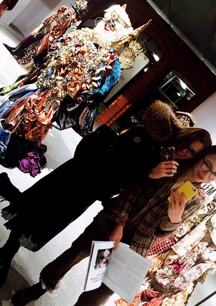 martha may and pati having fun at the fashion exibition