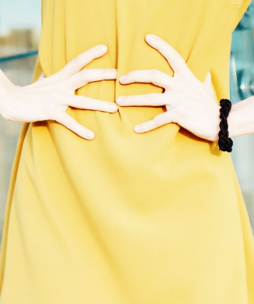 A-line dress in mustard color