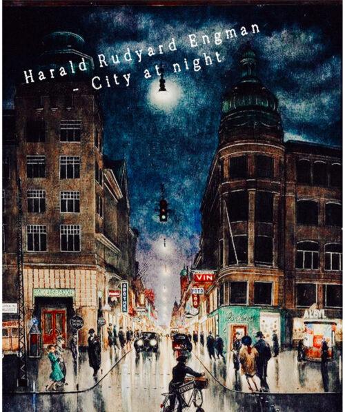 scandinavian painting city at night