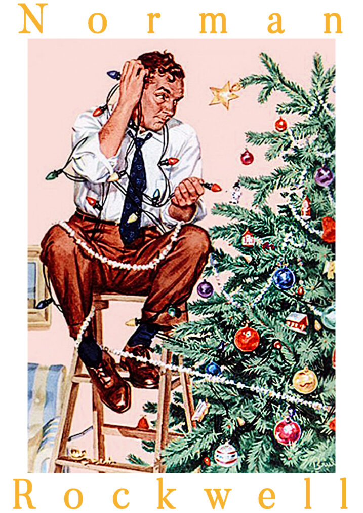 maymer 2020 christmas story and man decorating christmas tree poster by norman rockwell