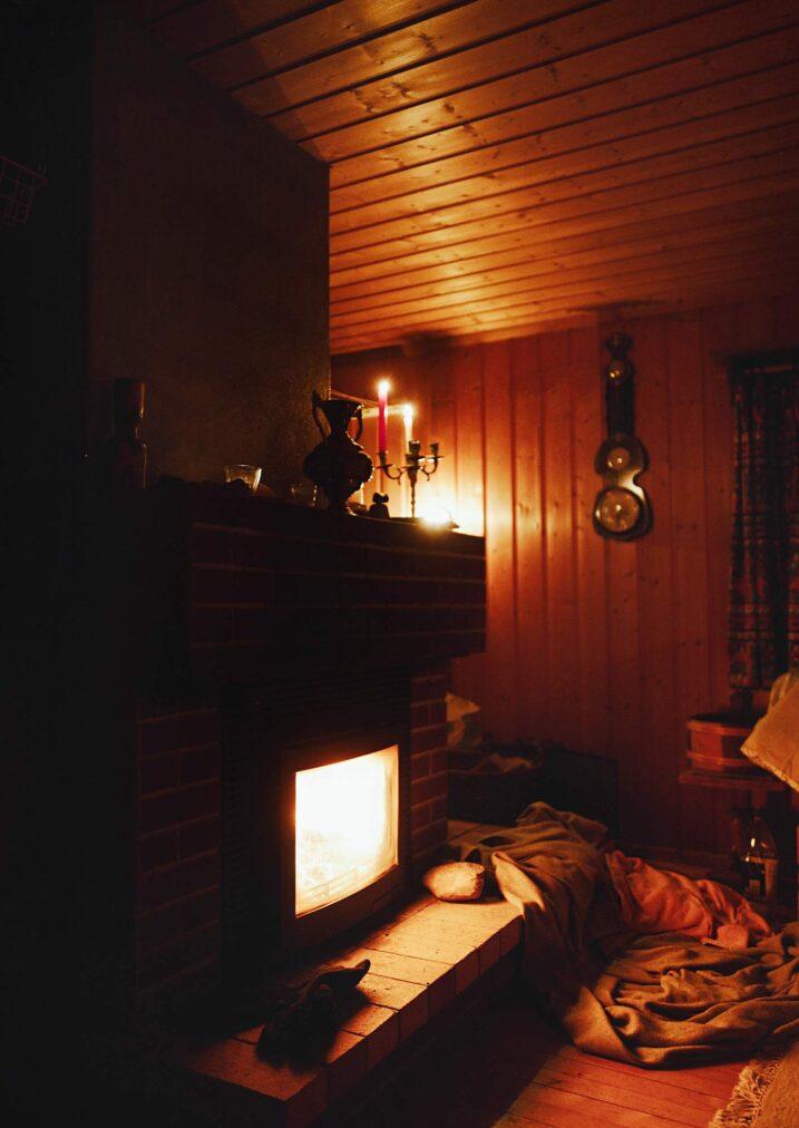 fireplace in the hytta near oslo