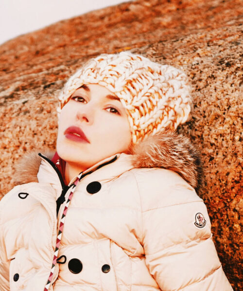 martha may portrait photo in a winter hat