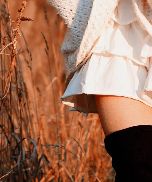 martha may white skirt and golden grass